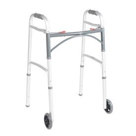 "Drive Universal Two Button Folding Walker with 5"" Wheels"