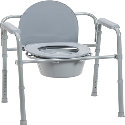 Drive Folding Deluxe Bedside Steel Commode - 11148KDR-1