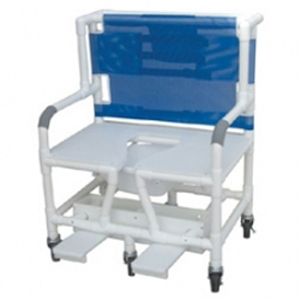MJM PVC Bariatric Shower Commode Chair w/Footrest 131-5