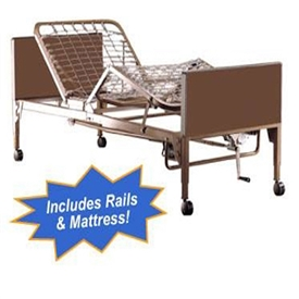 Full-Electric Hospital Bed Package w/Mattress & Rails