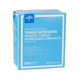 "Medline Tongue Depressor - 6"" Length - Wood - 100 / Box"