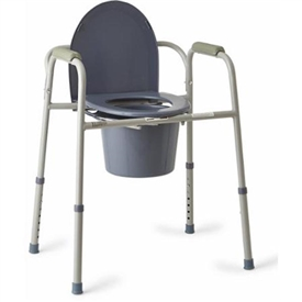 Medline Steel 3-in-1 Bedside Toilet Commode