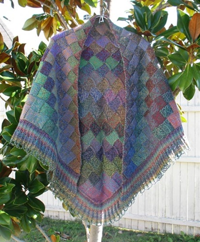 Knitting Pattern For Entrelac Shawl : Autumn Entrelac Shawl Pattern by Jojoland for Rhythm yarn