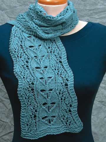 Knitting Patterns Free Scarves Lace : Wavy Lace Scarves lace knitting pattern by Fiddlesticks knitting.