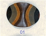 Button Large Oval Sculpted Wood size 54