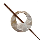Round Mother of Pearl Shawl Pin
