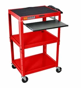 Luxor AVJ42KB-RD Adjustable Height Red Metal A/V Cart w/ Pullout Keyboard Tray