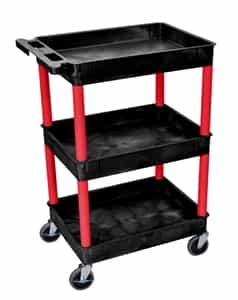Luxor BKSTC111RD Black 3 Shelves Utility Cart w/Red Legs