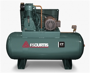 FS-Curtis CT10 120-Gallon Horizontal 10-HP Two-Stage Simplex Air Compressor w/Magnetic Starter (3/60/200-208V - FCT10C75H1S-A9L1XX, 3/60/230V - FCT10C75H1S-A3L1XX, 3/60/460V - FCT10C75H1S-A4L1XX)