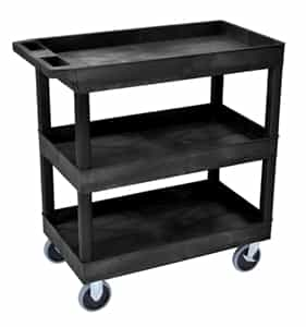 Luxor EC111HD-B Black High Capacity 3-Shelf Tub Cart