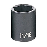 "Grey Pneumatic 3/8"" Drive 11/16"" Fractional Standard Impact Socket GRE1022R"