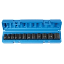 "Grey Pneumatic 12 Piece 3/8"" Drive 12 Point Standard Fractional Impact Socket Set GRE1202"