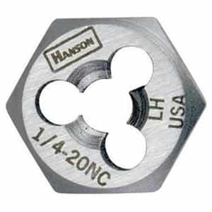 "Hanson 5/8"" - 18 NF High Carbon Steel Re-threading Right Hand Hexagon Fractional Die HAN7254"