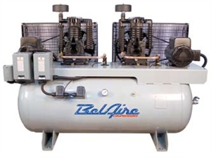 elAire 3112D 2 x 5 HP 120 Gal. Horizontal Two Stage Single Phase Electric Duplex Air Compressor P/N 8090250005