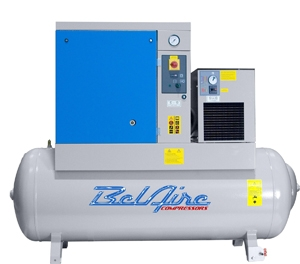 BelAire BR15503D 15HP 120G 128/150psi Three Phase Belt Drive Rotary Screw Air Compressor w/Dryer P/N 4152011819