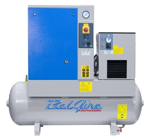 BelAire BR5503D 5HP 60G 150psi Three Phase Belt Drive Rotary Screw Air Compressor w/Dryer P/N 4152011810