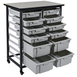 Luxor MBS-DR-8S4L Mobile Bin Storage Unit - Double Row 8 Small & 4 Large Bins