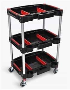 Luxor MC-3 Black/Red 3 Shelf Mechanics Cart w/Aluminum Legs