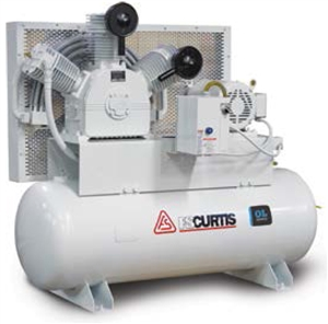 FS-Curtis OL7.5 Duplex Tank-Mounted 7.5HP 120-Gallon Oil-less Air Compressors (230V or 460V 3-Phase)