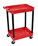 Luxor RDSTC11BK Red 2-Shelf Utility Tub Cart /Black Legs