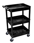 Luxor STC111-B Black 3-Shelf Tub Cart