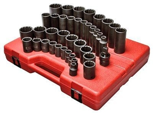 "Sunex Tools 1/2"" Drive 39 Piece 12 Point SAE Master Impact Socket Set SUN2698"