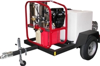 Hot2Go® T185SKH / SK30005VH 3000/5.0 Pressure Washer & 200 Gallon Single Axle Trailer Package (Gas - Hot Water)