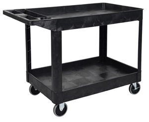 Luxor XLC11-B 2 Shelf Black Heavy-Duty Utility Cart