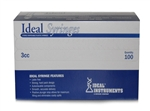 Ideal Syringe 3 cc, Without Needle, Luer Lock, 100/Box