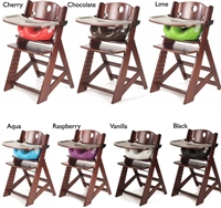 "Keekaroo Height Rightâ""¢ Mahogany High Chair with Infant Insert & Tray (Kid's Chair + Infant Insert + Tray with Plastic Tray Cover) 6 months up to 250 lb"