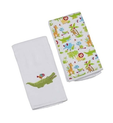 Green Alligator Double Burp Cloth Gift Set