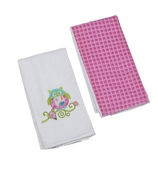 Bella Owl Double Burp Cloth Gift Set