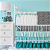 Aqua Leopard Baby Bedding 2Pc Set (Sheet & Skirt)