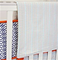 Aqua and Navy Mod Mix Baby Bedding Blanket