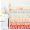 Coral and Gold Dot Ruffle Baby Bedding 2Pc Set (Sheet & Skirt)