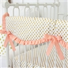 Coral and Gold Dot Ruffle Baby Bedding Crib Rail