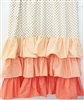 Coral and Gold Dot Ruffle Baby Bedding Curtain