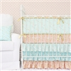 Coral & Gold Sparkle Baby Bedding 2Pc Set (Sheet & Skirt)