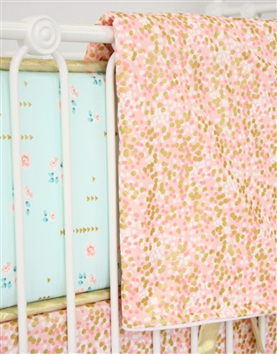 Coral & Gold Sparkle Baby Bedding Blanket
