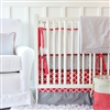 Coral & Gray Baby Bedding 2Pc Set (Sheet & Skirt)