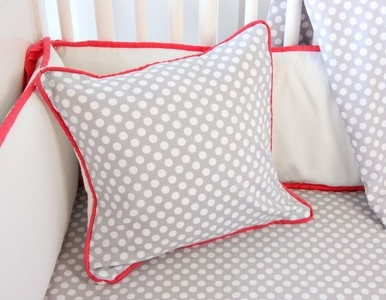Coral & Gray Baby Bedding Pillow