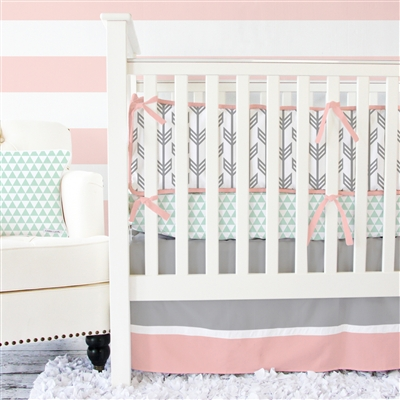 Coral & Mint Arrow Baby Bedding  2Pc Set (Sheet & Skirt)