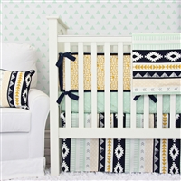 Gold and Mint Aztec Baby Bedding 2Pc Set (Sheet & Skirt)