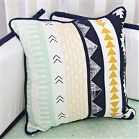 Gold and Mint Aztec Baby Bedding Pillow
