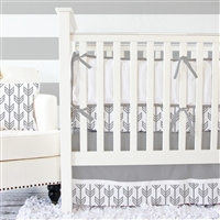 Gray & White Arrow Baby Bedding 2Pc Set (Sheet & Skirt)  Avail for Preorder