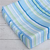Gatlin's Green and Blue Baby Bedding Blue Stripe Changing Pad