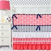 Preppy Coral and Navy Baby Bedding 2Pc Set (Sheet & Skirt)