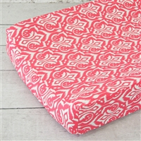 Preppy Coral and Navy Baby Bedding Changing Pad