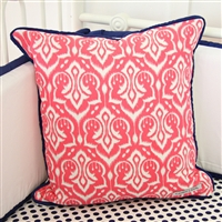 Preppy Coral and Navy Baby Bedding Pillow