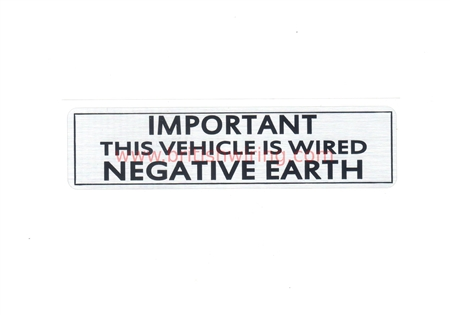 Negative Earth Sticker